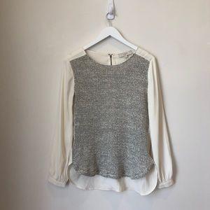 Ann Taylor Loft White Sweater Front Blouse